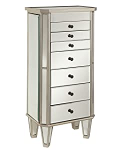 Powell 233-314 Mirrored Jewelry Armoire with Silver Wood,