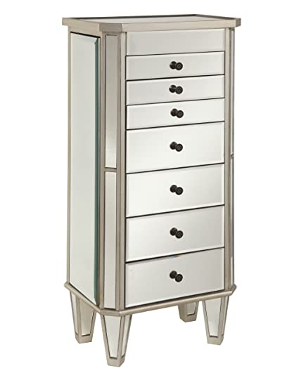 Amazoncom Powell Mirrored Jewelry Armoire with Silver Wood
