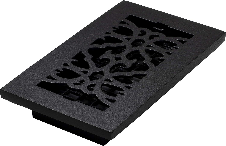 Decor Grates AC408-BLK Victorian Floor Register, 4 x 8, Cast Iron Black