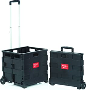 SECO Square Handle Large Foldable Plastic Trolley Cart - Black (ZY-LC-BKNEW))