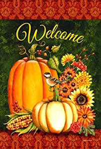 Toland Home Garden Welcome Gourds 12.5 x 18 Inch Decorative Fall Autumn Pumpkin Harvest Garden Flag