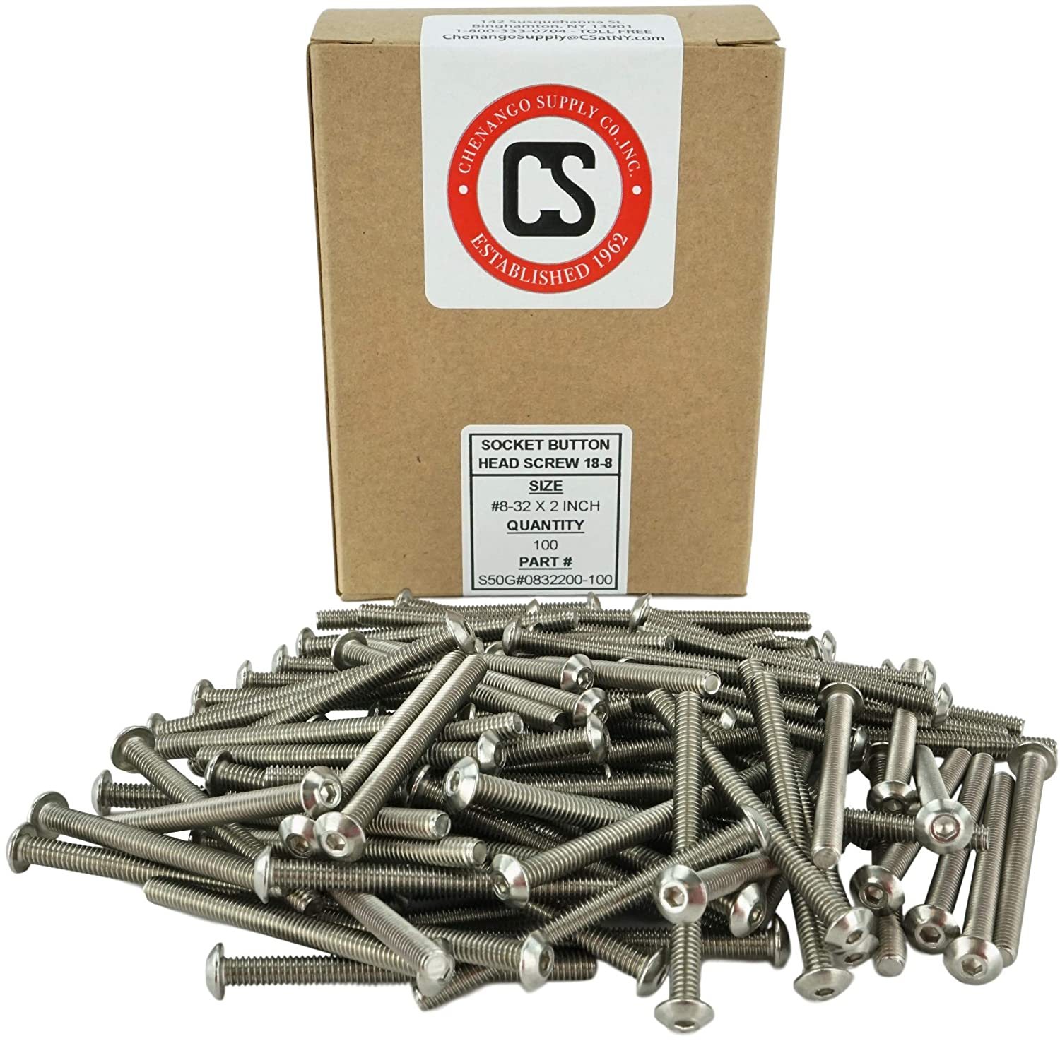 Hex Drive 8-32 x 1-1//4 Socket Button Head Cap Screws Stainless Steel 18-8 Stainless #8-32 x 1-1//4 Machine Thread Full Thread 1//2 to 2 Available