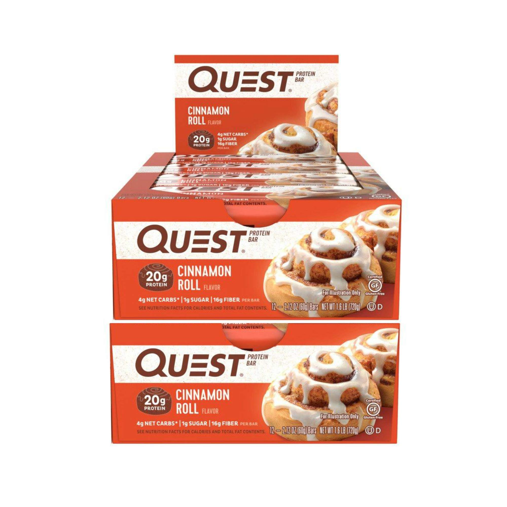 Quest Nutrition Protein Bar Cinnamon Roll. Low Carb Meal Replacement Bar with 20 gram Protein. High Fiber, Gluten-Free (24 Count)