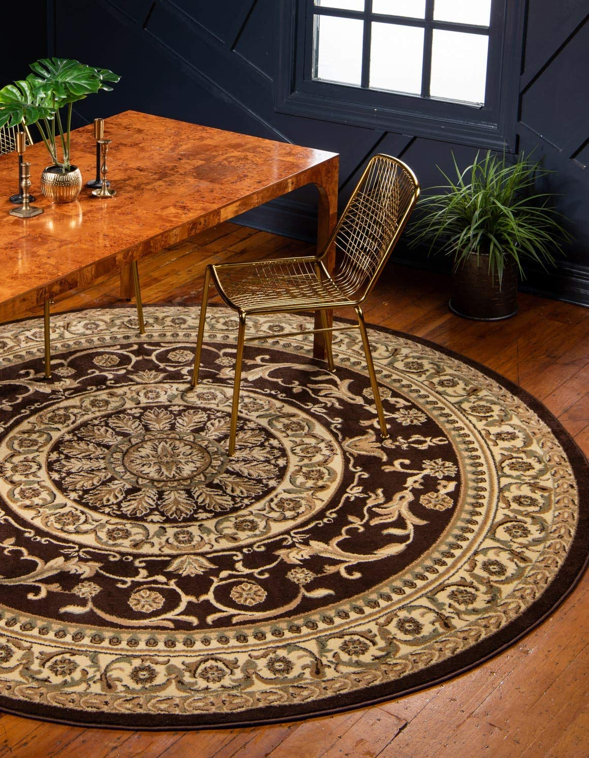 Unique Loom Versailles Collection Traditional Classic Brown Round Rug 8 0 x 8 0