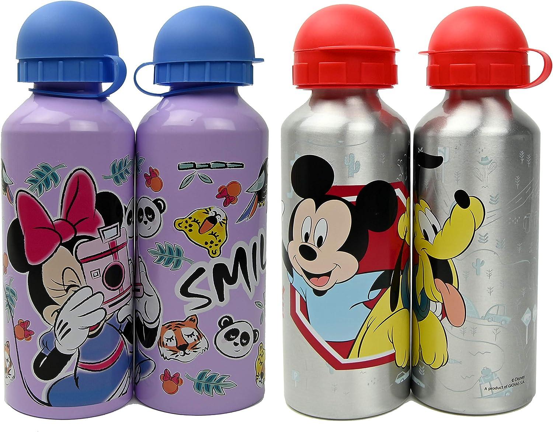 ML Pack de 2 Botellas de Agua de Aluminio Disney de Mickey y Minnie, cantimplora térmica a Prueba de Fugas sin BPA para Levar a la Escuela y Deportes el Termo 500ml para niños y niñas (Lila)