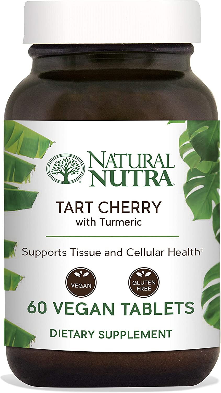 Natural Nutra Tart Cherry Extract with Turmeric Curcumin, Antioxidant Supplement for Inflammation Relief, Joint Health and Gout Treatment, 60 Vegan Tablets