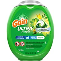 Gain Ultra flings Liquid Laundry Detergent pacs Designed for Large Loads, Original Scent, 48 Count