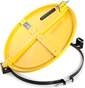 New Pig Latching Drum Lid | For 55 Gal Steel Drums | One-Hand Latch | Bolt-Ring | Locking Lid | Yellow | DRM659-YW