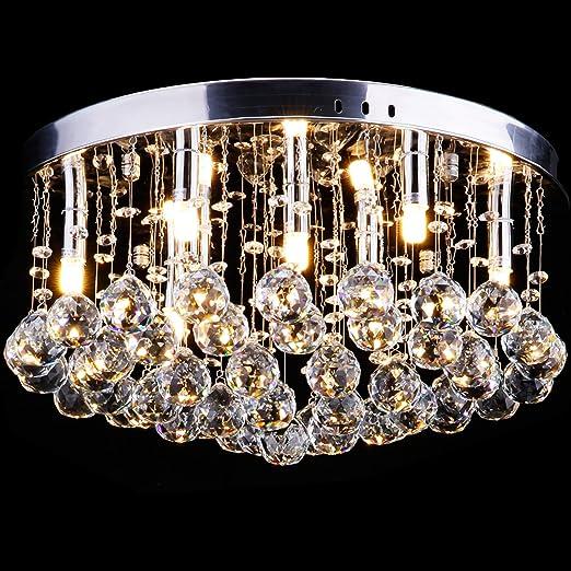 CCLIFE Lampadario Cristallo,Moderno Lampadario a Sfera in Cristallo  Lampadine LED per Corridoio,Soggiorno