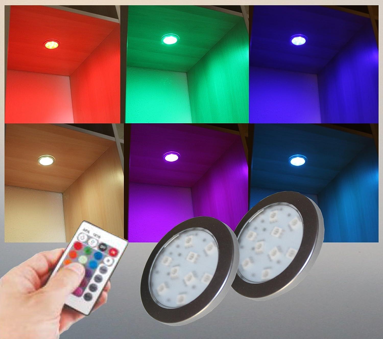 RGB LED Unterbauleuchten Helitec 2-er Set mit Trafo Steuerung und Fernbedienung Art. 2124-2   Lichtfarbe Rot Grün Blau Vitrinenbeleuchtung Möbelbeleuchtung Regalbeleuchtung