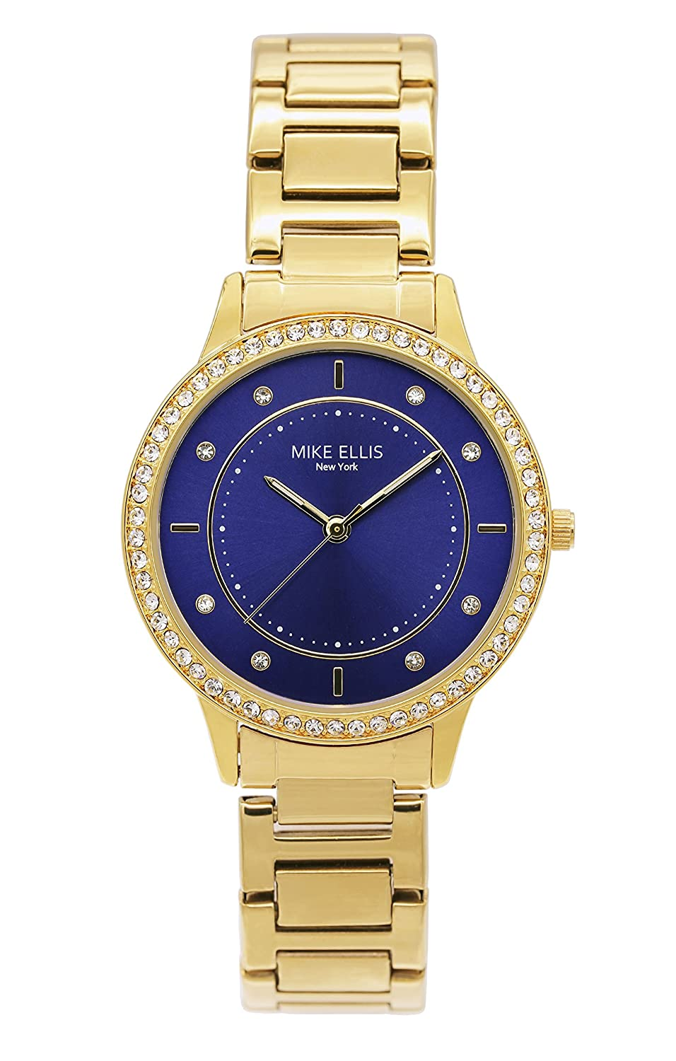 Mike Ellis New York Damen-Armbanduhr Blueline Analog Quarz Edelstahl SM4612A