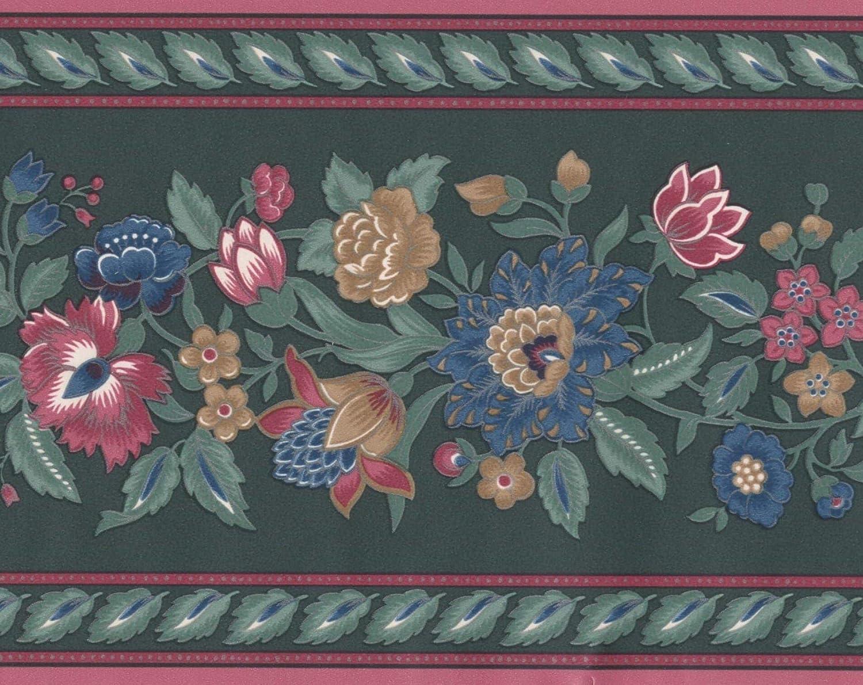 Red Blue Cinnamon Flowers Floral Green Wallpaper Border Retro