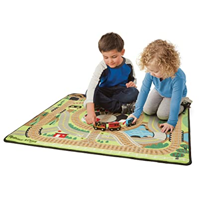 Melissa & Doug Round the Rails Train Rug With 3 Linking Wooden Train Cars (39 x 36 inches): Toys & Games