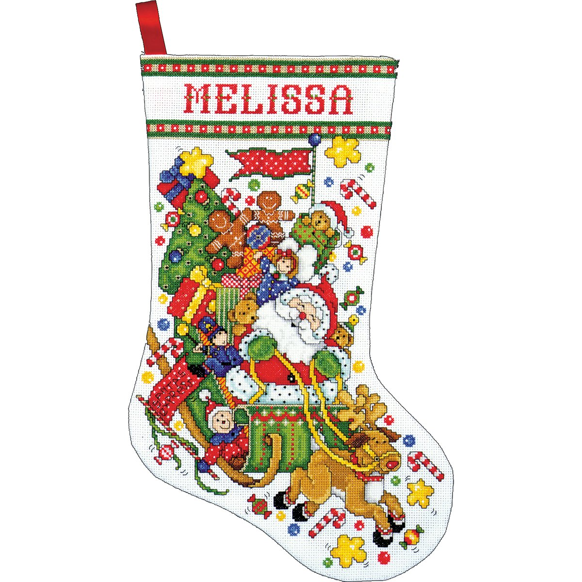Tobin 14 Count Santa and Sleigh Stocking Counted Cross Stitch Kit, 17-Inch Long DW5951