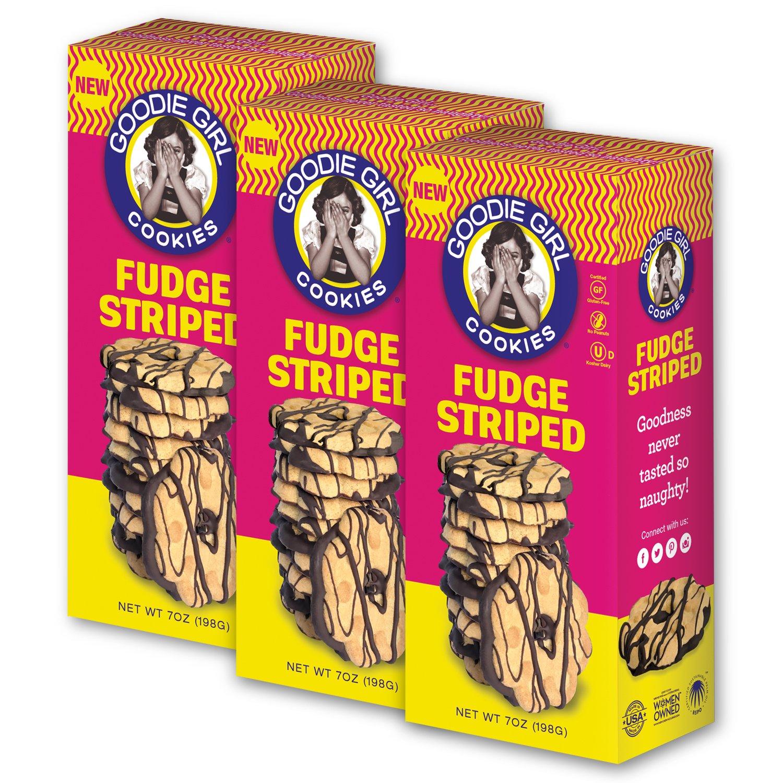 Goodie Girl Cookies, Fudge Striped Gluten Free Cookies, Peanut Free and Gluten Free Delicious Snack Cookies, Kosher (7oz Box, Pack of 3) by Goodie Girl Cookies