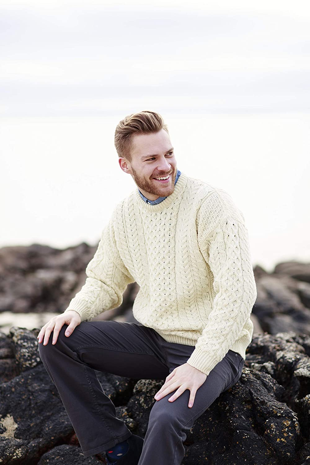 Men's Vintage Sweaters – 1920s to 1960s Retro Jumpers Traditional Wool Crew Neck Aran Sweater $89.95 AT vintagedancer.com