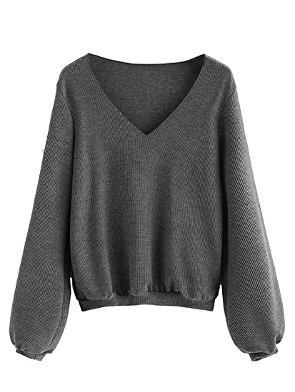 c9a914616aa Milumia Women s Bishop Sleeve Ribbed Basic Pullovers Sweater at ...
