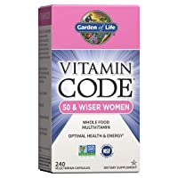 Garden of Life Multivitamin for Women 50 & Over, Vitamin Code Women 50 & Wiser Multi - 240 Capsules, Vitamins for Women 50 Plus with B Vitamins, Vitamins A, C, D3, E & K, CoQ10, Probiotics & Enzymes