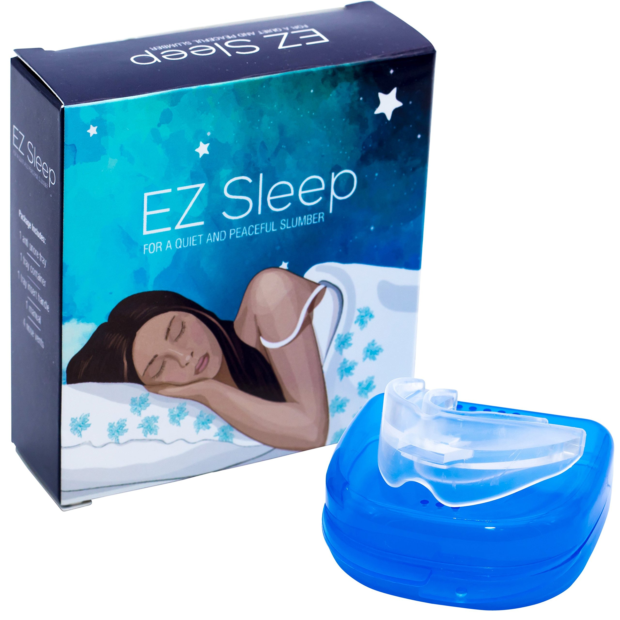 EZ Sleep Snore Stopper Mouthpiece w/ 4 Set Snore Stopper Nose Vents Helps Prevent Snoring and Teeth Grinding