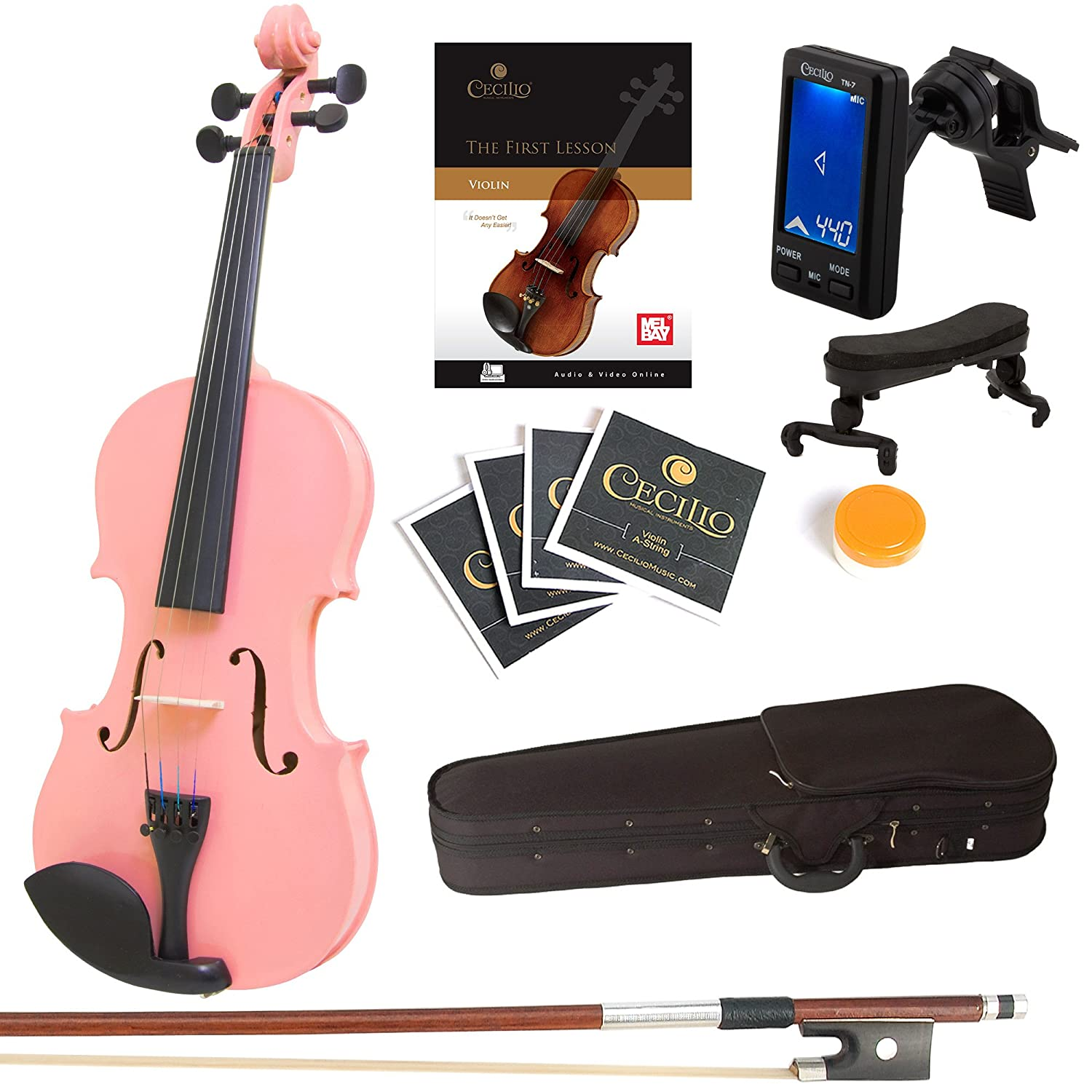 Mendini 4/4 MV-Black Solid Wood Violin with Tuner, Lesson Book, Shoulder Rest, Extra Strings, Bow and Case, Metallic Black Full Size Cecilio Musical Instruments 4/4MV-Black+SR+TN7+FB1