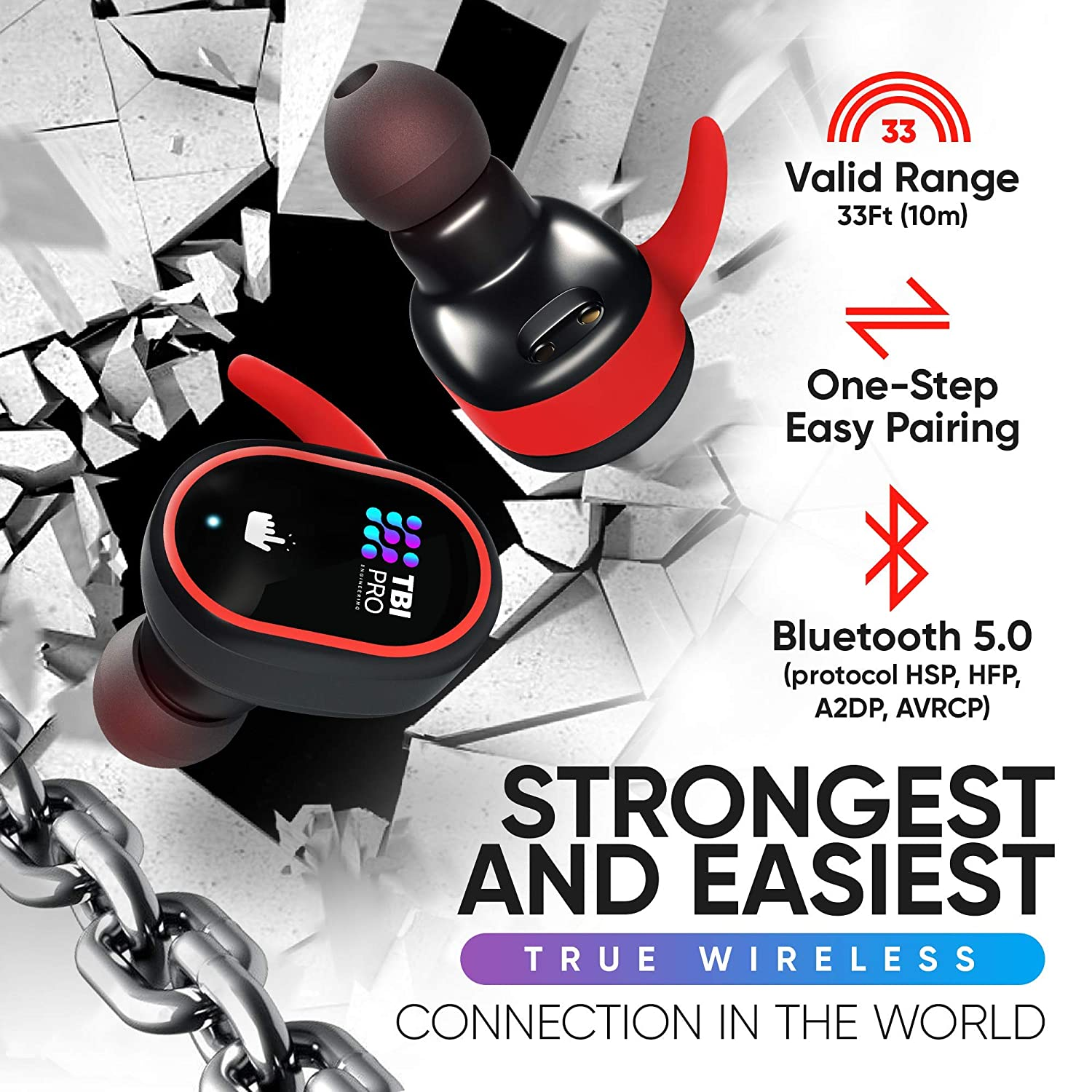 Upgraded 2020 Premium True Wireless Earbuds – 30 Hours Total with Strong Bluetooth 5.0, IPX8 Waterproof TWS Stereo Headphones in-Ear Built-in Mic Headset Sound with Deep Bass for Sport, Gym, Running