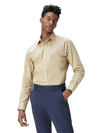 21d1b1ad725 T-Shirts Men s Regular Fit Pure Cotton Formal Long Sleeve Formal Shirt   Amazon.co.uk  Clothing