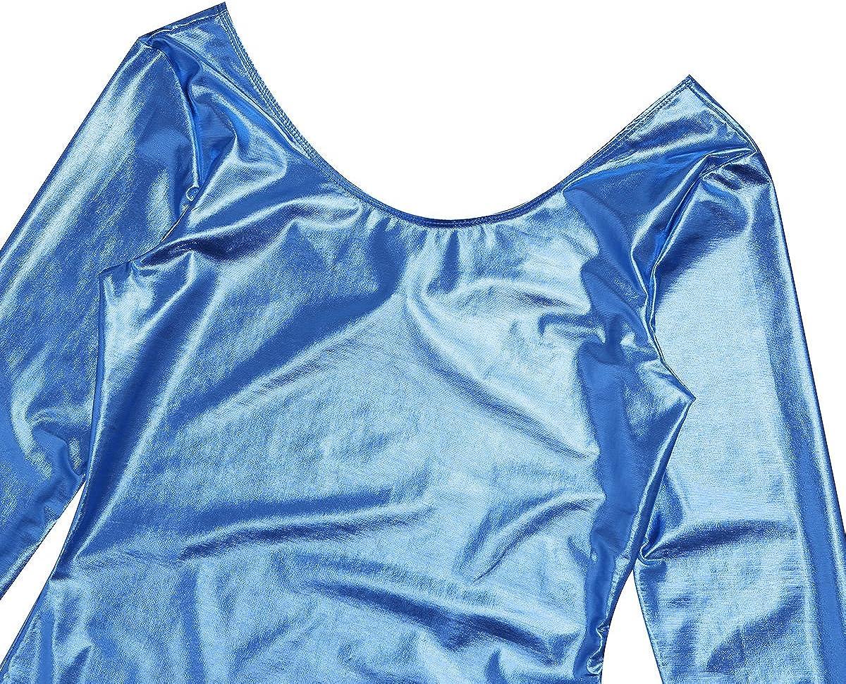 CHICTRY Maillot de Danza Ballet Gimnasia Leotardo De Manga Larga Body Cl/ásico El/ástico de Charol para Mujer Chica