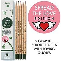 Scatola di matite Sprout Love Edition   Pacchetto da 5   matite da piantare   in legno organico e naturale   Set da regalo con un cuore- frasi tenere   semi da fiori e piante aromatiche incluse