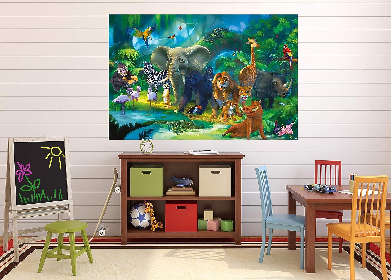 Chaque Jungle Illustration Aventure /Él/éphant Singe Lion D/écoration Murale Affiche Comique Style 140 X 100 cm Animaux De La For/êt GREAT ART Lot De 2 Affiches XXL P/épini/ère