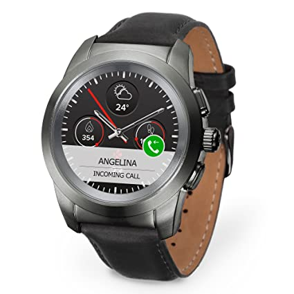 MyKronoz ZeTime Petite Premium Hybrid Smartwatch 39mm with Mechanical Hands Over a Color Touch Screen, Swiss Design, iOS and Android – Brushed ...