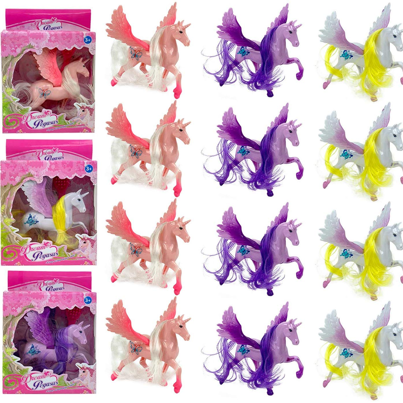12 Pack - Plastic Large Unicorn Figures Figurine Toys for Girls Party Favors Supplies with Brushable Mane, Tail, and Comb (5 Inch)
