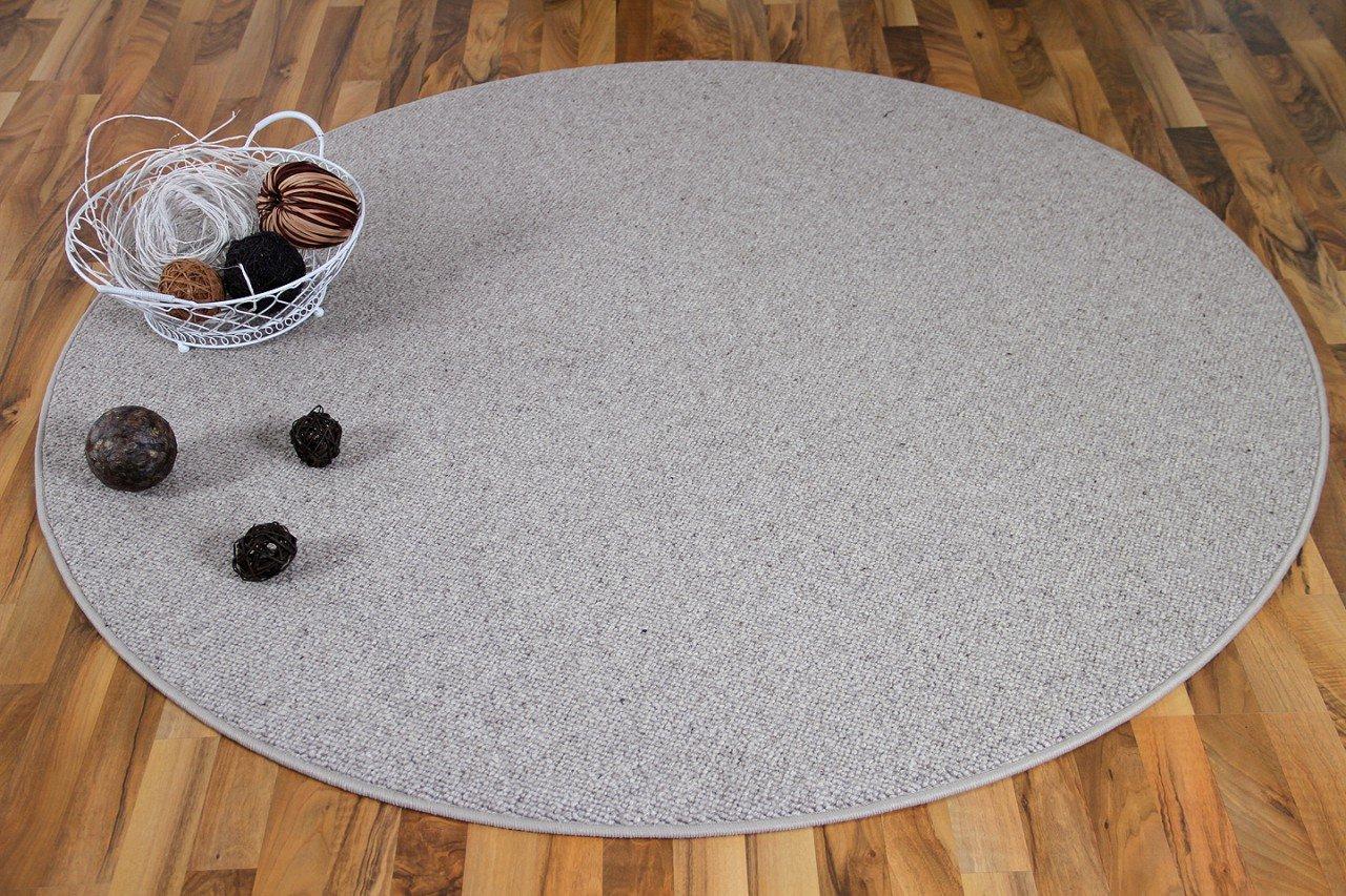 Unbekannt Natur Teppich Wolle Berber Rund Grau Meliert in 7 Größen