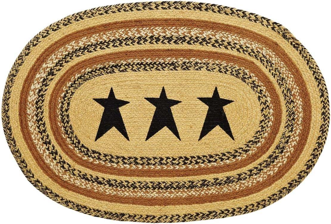 VHC Brands 10117 Primitive Flooring Prim Grove Star Jute Stenciled Oval 24×36 Rug