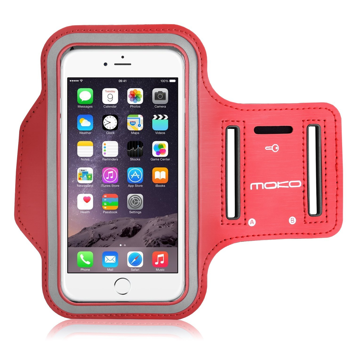 MoKo Sports Armband for iPhone 6s Plus / iPhone 6 Plus, Samsung Galaxy Note 5 / S6 edge+, Droid Turbo and LG G4 / G3, Card Slot, Sweat-proof, Rojo (Size L, ...