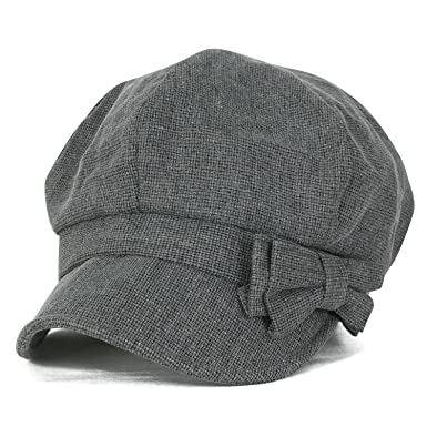 94276073a08c5 ililily Ribbon Trim Cotton Big Apple Newsboy Hat Stretch-fit Flat Cabbie Cap,  Charcoal Grey at Amazon Women's Clothing store: