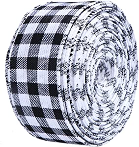 STMK White and Black Buffalo Plaid Ribbons, Christmas Wired Edge Ribbons Burlap Ribbon for Christmas Wrapping, Crafts Decoration, Floral Bows Craft (White and Black Plaid Ribbon, 2 in x 30 Yd)