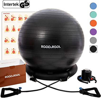Amazon Com Rggd Rggl Yoga Ball Chair Exercise Ball With Leak Proof Design Stability Ring 2 Adjustable Resistance Bands For Any Fitness Level 1 5 Times Thicker Swiss Ball For Home Gym Office Pregnancy 65 Cm Sports Outdoors
