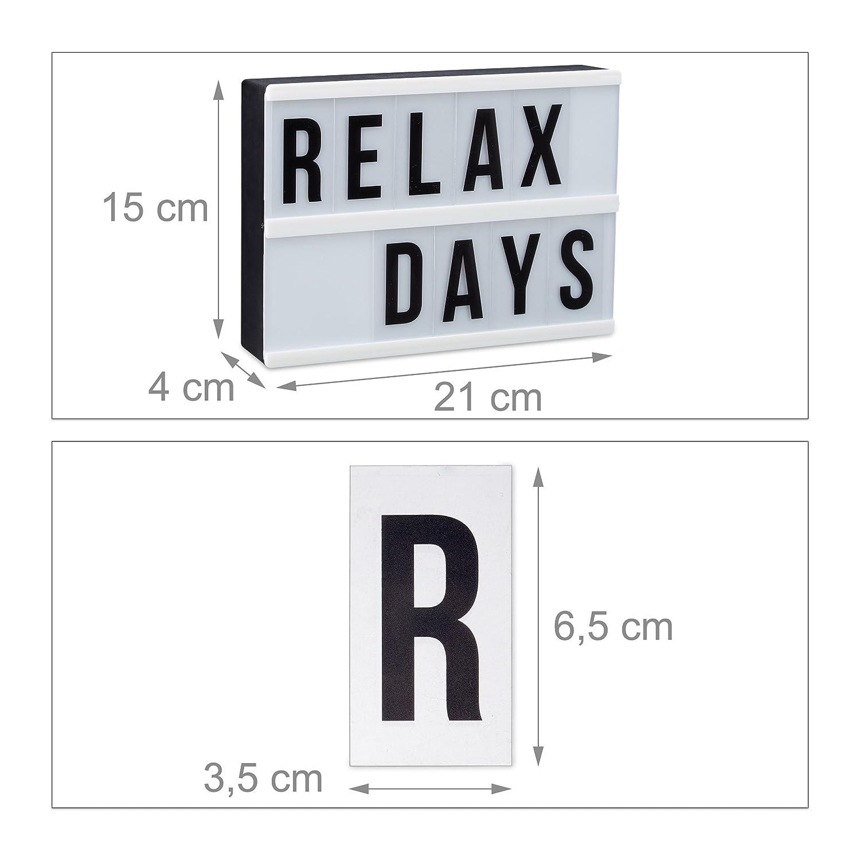 Relaxdays Light Box Leuchtbox Mit 60 Zeichen Buchstaben Zahlen Led Leuchtschild Hbt 15 X 21 X 4 Cm Weißschwarz