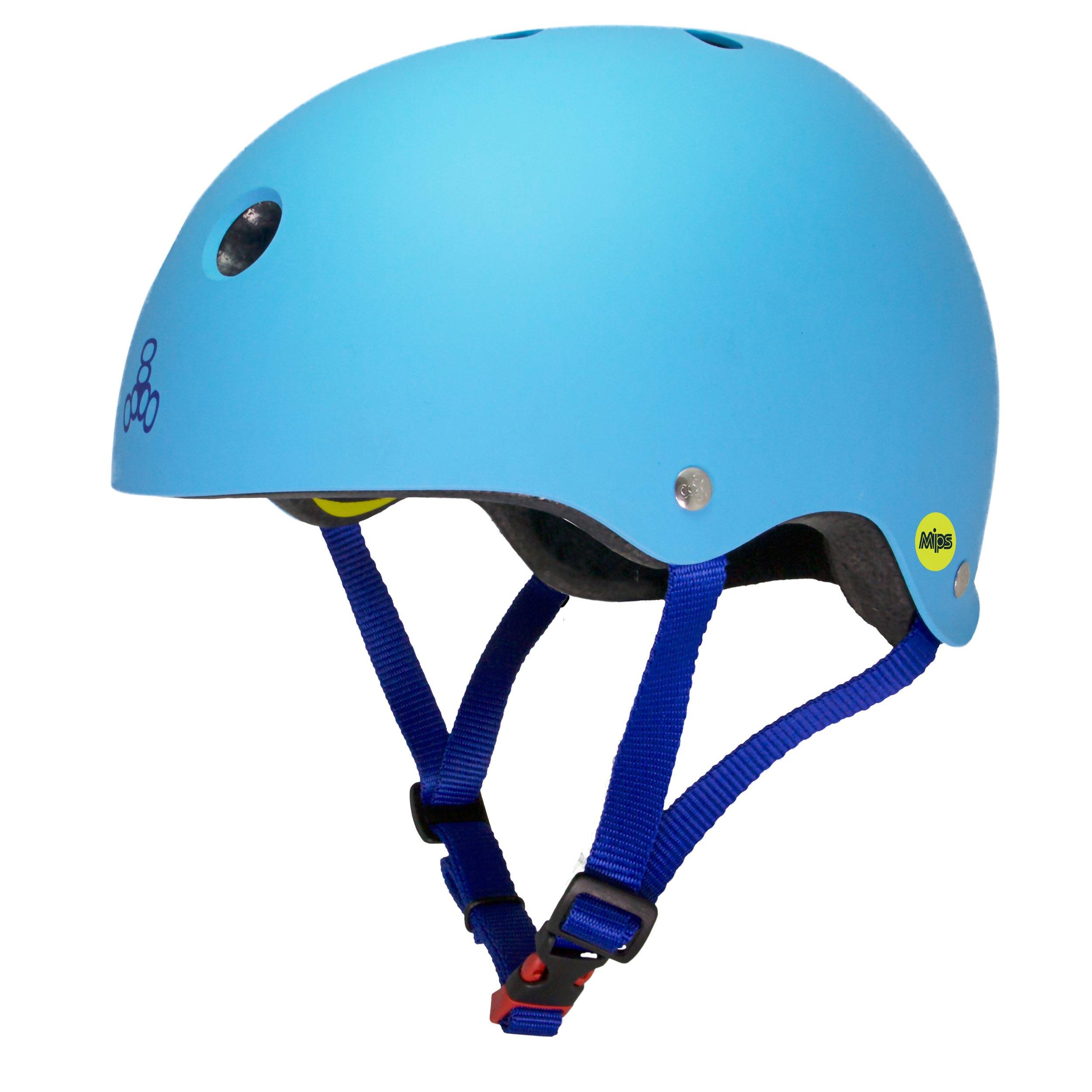 Triple Eight Dual Certified MIPS Bike and Skateboard Helmet, Blue Matte, Large/X-Large