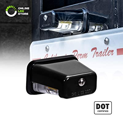 LED License Plate Light for Trailer [Stud Mount] [DOT FMVSS 108] [SAE L] [Black-Finish] [Waterproof] [12V DC] License Tag Lights for UTV ATV Trailer Truck RV Boat: Automotive