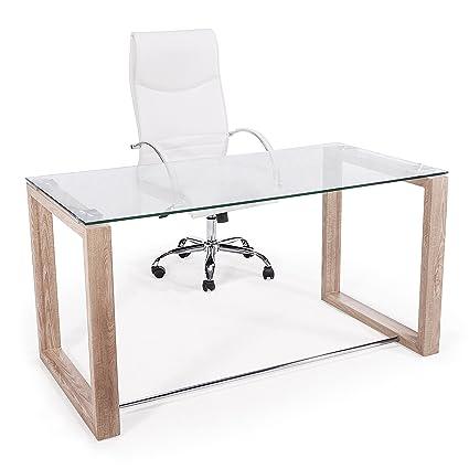 Adec - Mesa de estudio oficina Office, cristal transparente y patas ...