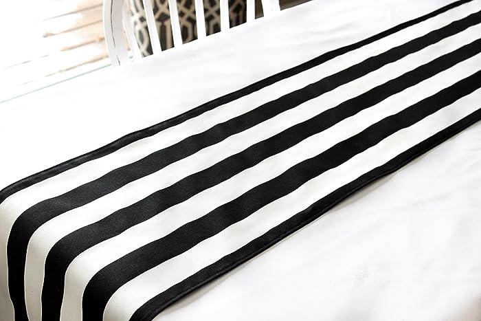 Bon Black And White Striped Table Runner