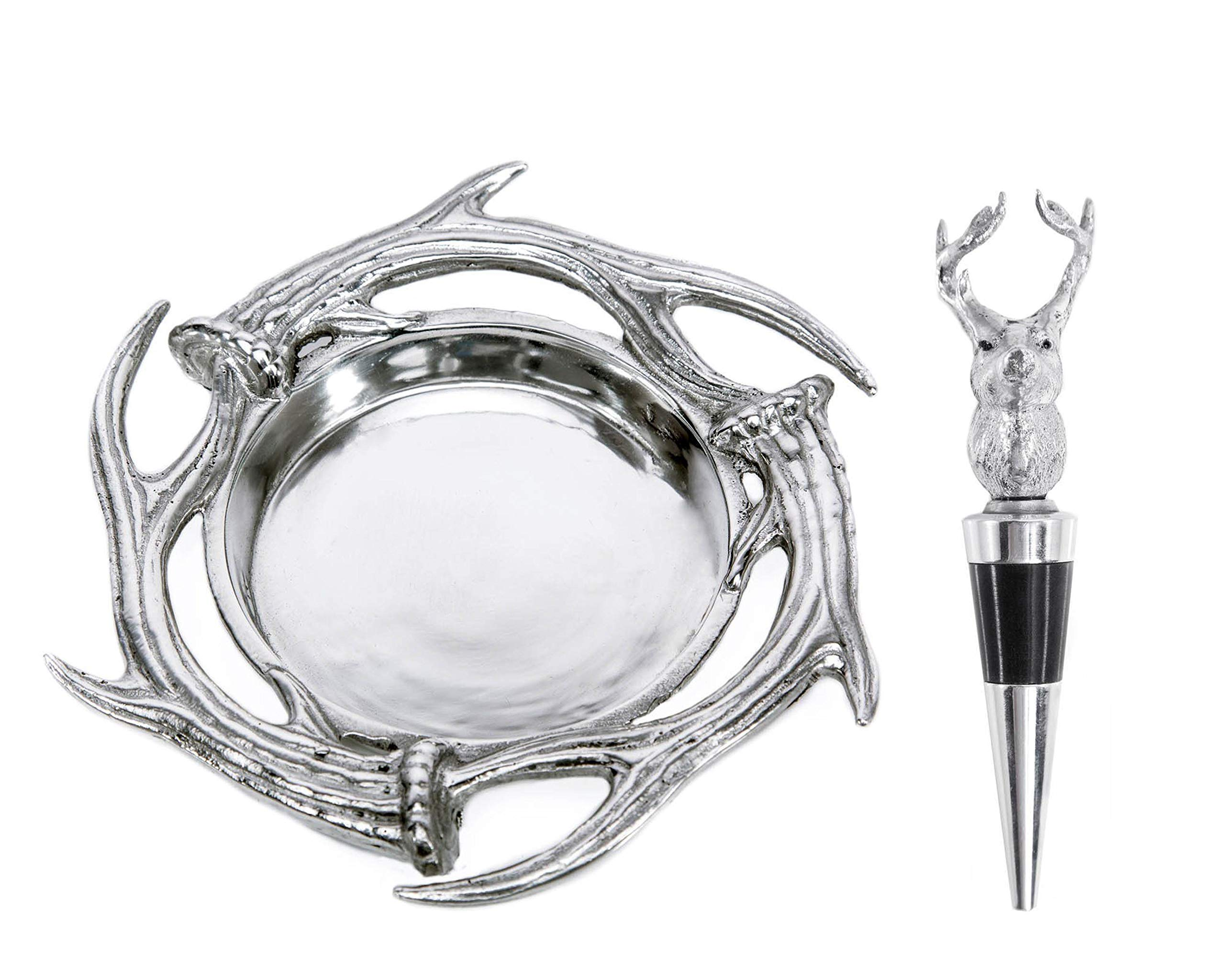 Arthur Court Designs Aluminum 7'' Dia Antler Wine Coaster and Stopper Set by Arthur Court