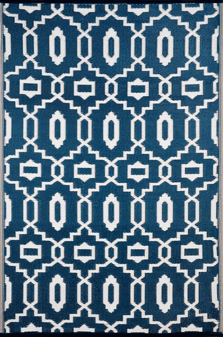 Grün Decore Outdoor-Teppich, wendbar, leicht, Kunststoff, 120 x 180 cm, Dunkelblau Weiß