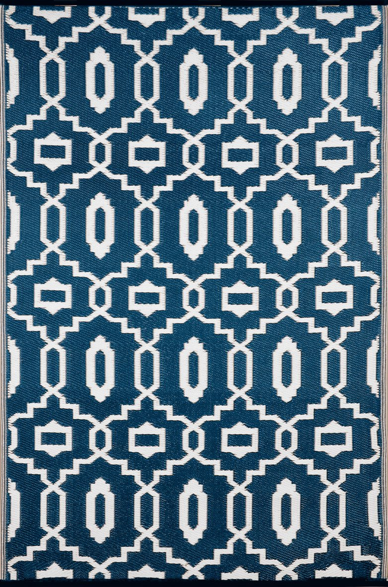 Green Decore ''Modern Outdoor/Reversible Eco Plastic Rug, Dark Blue/White (5X8, Dark Blue/White)