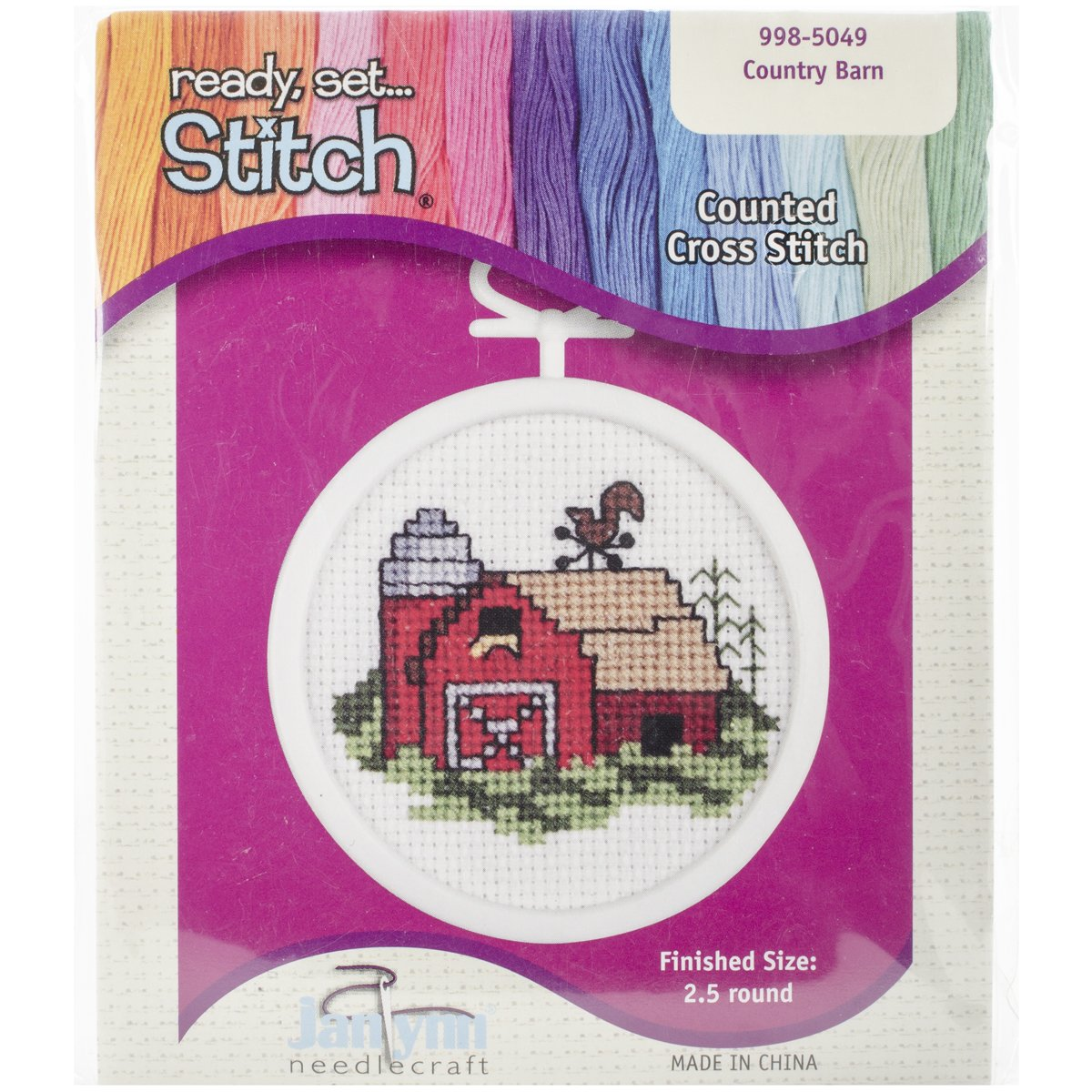 Barn 2-1//2-Inch Janlynn 18 Count Round Mini Counted Cross Stitch Kit