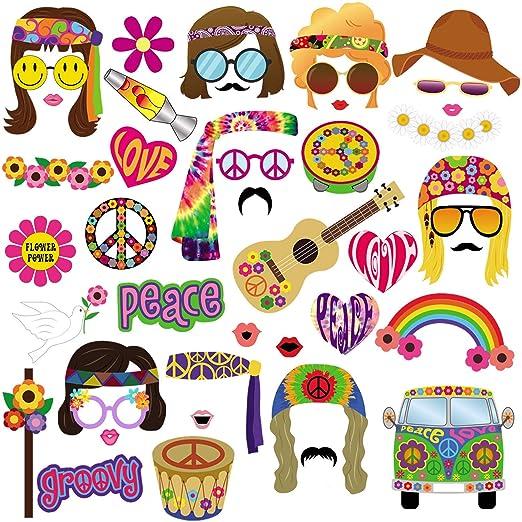 BizoeRade - Kit de accesorios para fotomatón de los años 60, 45 piezas, temática hippie de los años 60, para fiestas de cumpleaños, bodas, ...