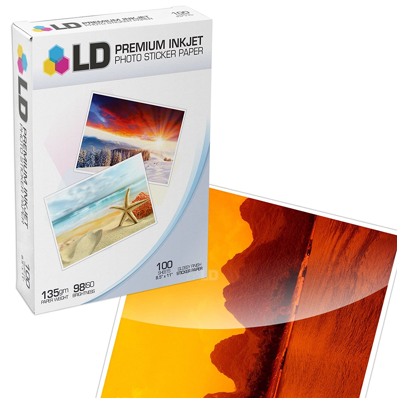 LD © Glossy Inkjet Photo Sticker Paper (8.5X11) 100 pack LD Products HYPSTICK100