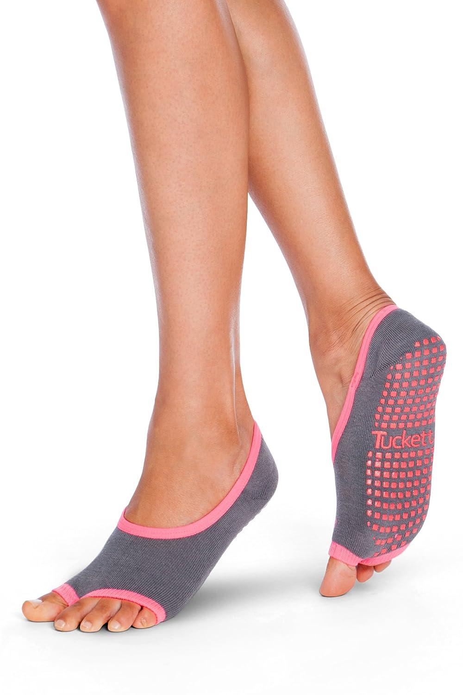 Tucketts Womens Pilates Socks, Toeless Yoga Non Slip Skid Grip Low Cut Socks for Barre, Studio, Bikram, Ballet, Dance - Ballerina Style
