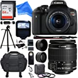 "Canon EOS Rebel T6i 24.2 MP DSLR Camera, 18-55mm f/3.5-5.6 STM Lens, HD .43x Wide Angle & 2.2X Telephoto Lens, 64 GB Memory Card+ 57"" Tripod, 58mm Filter Kit, Bag & DigitalAndMore PRO Accessory Bundle"